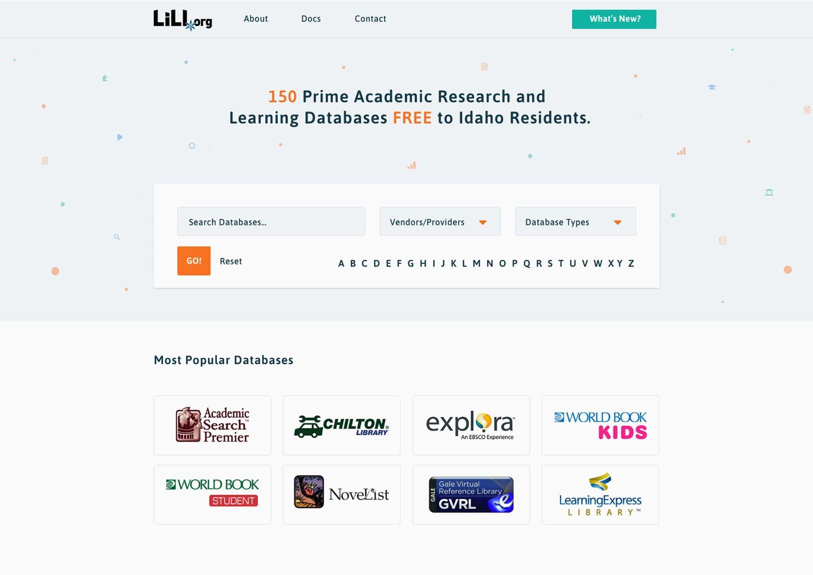 Academic Databases Web design
