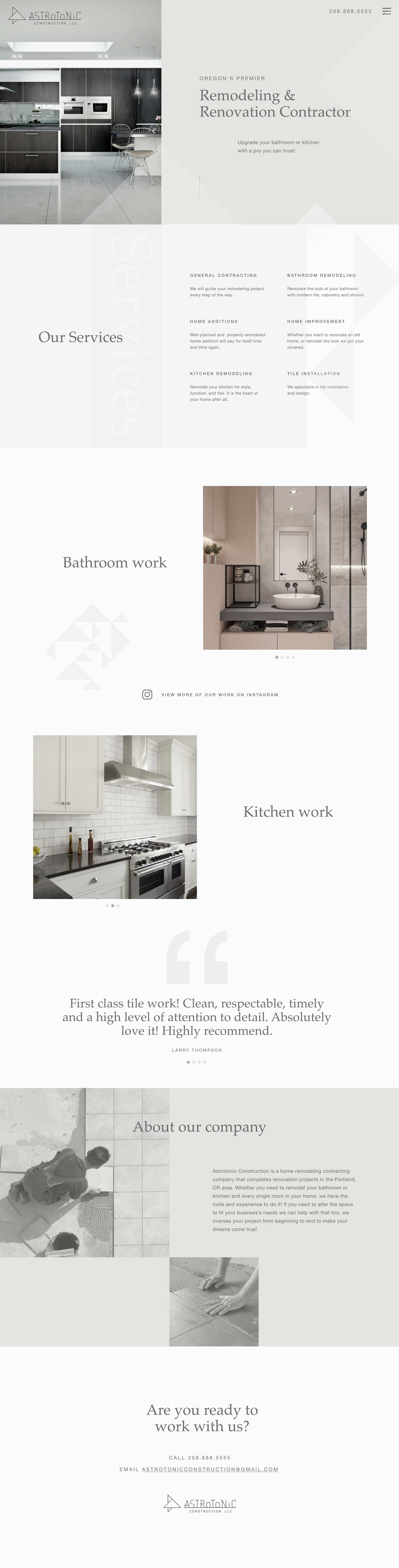 Tile and Bathroom remodeling contractor web design