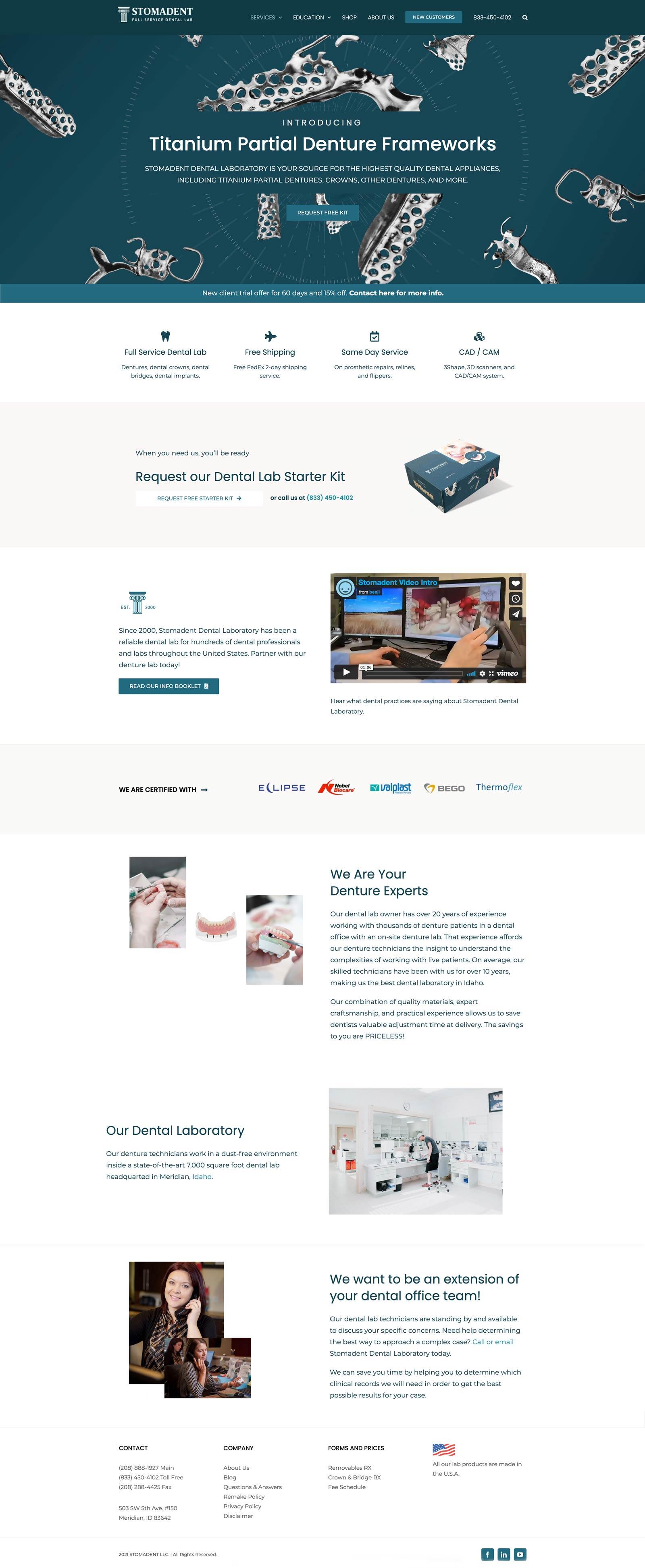 Dental Lab Web Design Project in Meridian, Idaho